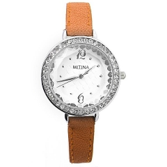 Women's Crystal Bezel White Dial Leather Strap Quartz Watch