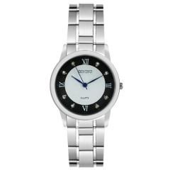Diniho 28mm Bla & White Dial Minute Circle Semi-steel Quartz Watch