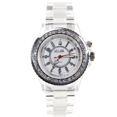 Miler Diamond-Studded Silver Bezel White Dial Transparent Band Quartz Watch
