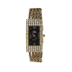 USS Diamond-Studded Gold Bezel Bla Dial Gold & Bla Steel Band Quartz Bracelet Wrist Watch