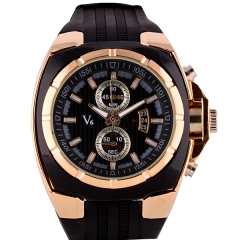 V6 Super Speed Bla & Gold Bezel Bla Dial Quartz Watch with Two Decorative Buttons