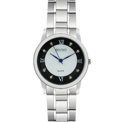 Diniho 38mm Bla & White Dial Minute Circle Semi-steel Quartz Watch