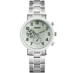 Diniho Bla Display Semi-steel Quartz Watch with Two Decorative Buttons