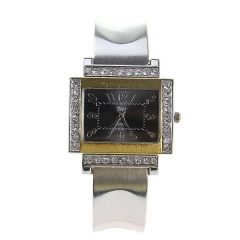 My's Gold & Diamond-Studded Bezel Bla Dial Silver Steel Band Quartz Bracelet Watch