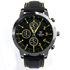 Men's Metal Bla Case Bla Dial Yellow Scale Quartz Watch