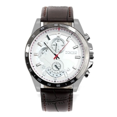 Men's Silver Stabbing White Dial with Red Second Quartz Watch