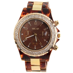 Miler Diamond-Studded Gold Bezel Brown Dial Brown Plastic & Gold Steel Strap Quartz Watch