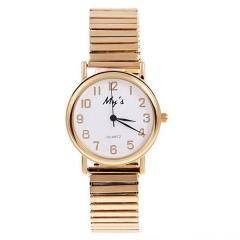 My's Gold Bezel White Dial Gold Stretch Steel Band Quartz Watch