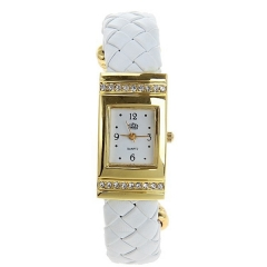 USS Gold Bezel White Dial White Steel Band Quartz Bracelet Wrist Watch