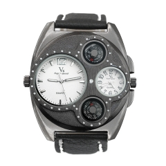 V6 Super Speed Two Compasses Two Time Movement Display Men's Quartz Watch