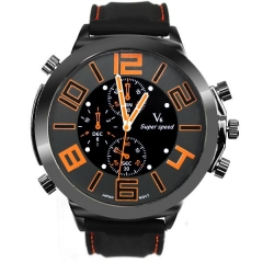 Men's Metal Bla Case Super Speed Orange Numbers Quartz Watch