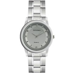 Diniho 41mm Silver & White Batons Semi-steel Quartz Watch