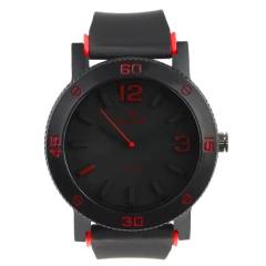 V6 0197 Bla Bezel Bla Dial Bla Rubber Strap Red Details Quartz Watch