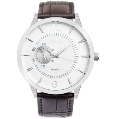 Men's White Radiative Dial Brown Strap Quartz Watch