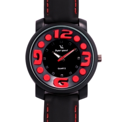V6 Super Speed Bla Bezel Bla Dial Red Dots & Numbers Quartz Watch