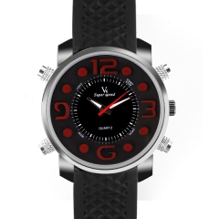 V6 Super Speed Personality Bla Bezel Bla Dial Quartz Watch with Four Decorated Buttons