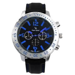 Men's Bla Dial with Blue Batons Rubber Strap Quartz Watch