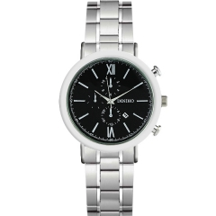 Diniho Silver Display Calendar Semi-steel Quartz Watch with Two Decorative Buttons