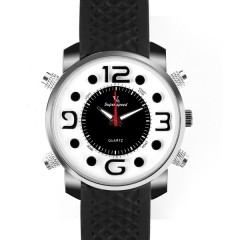 V6 Super Speed Personality Bla Bezel White Dial Quartz Watch with Four Decorated Buttons