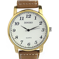 Diniho 5024 Gold Bezel White Dial Brown Leather Strap Quartz Watch