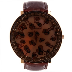Weicai Diamond-Studded Gold Bezel Light Brown Dial with Red & Bla Stains Brown Leather Band Quartz Watch