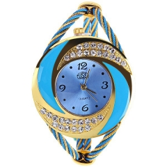 USS Women's Whirlwind Circle Style Diamond-studded Gold & Blue Bezel Blue Dial Quartz Bracelet Watch