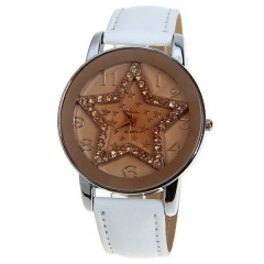 Weicai Silver Bezel Diamond-Studded Pentagram Brown Dial White Leather Band Quartz Watch