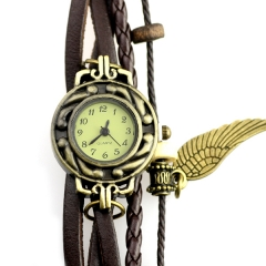 Ailisha Dark Brown Strap Arabic Number Dial Quartz Woman Watch Bracelet with A Wing Pendant