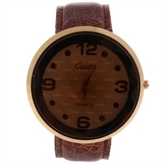 Weicai Gold Bezel Brown Dial Brown Leather Band Quartz Watch