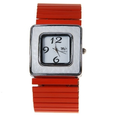 My's 3 Arabic Numbers Indicate Square Dial Stretch Steel Band Quartz Watch