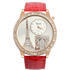 Women's Crystal Bezel Eiffel Tower Pattern Dial Quartz Watch
