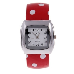 My's Silver Bezel White Dial Steel & Red Leather with Circles Patterned Band Quartz Bracelet Watch