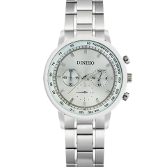 Diniho 43mm Silver Dial Semi-steel Quartz Watch