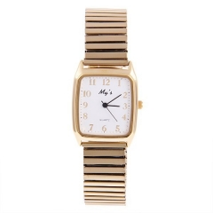 My's Square Gold Bezel White Dial Gold Stretch Steel Band Quartz Watch
