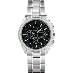 Diniho Silver Display Semi-steel Quartz Watch with Two Decorative Buttons