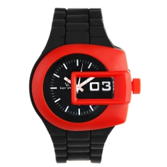 V6 0220 Red Bezel Bla Dial Bla Rubber Strap Quartz Watch