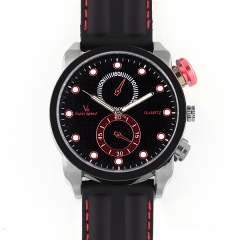 V6 Super Speed 0196 Bla Bezel Bla Dial Quartz Watch with One Red Decorative Button