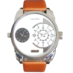 Cagarny 6813 Large Face Double Movt Advanced Quartz Watch