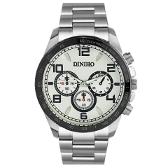 Diniho 8013G Silver Case Off White Dial Steel Strap Quartz Watch