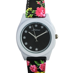 Mitina M-241 Rose Relief Dial Black Strap with Flower Patterns Quartz Watch