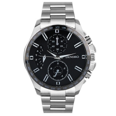 Diniho 8015G Silver Case Black Dial Steel Strap Quartz Watch