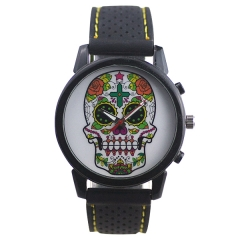 Men's Stylish Skull Dial Black Strap Quartz Watch