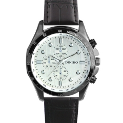 Diniho 8011G Black Case Silver Dial Semi-steel Quartz Watch