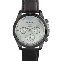 Diniho 8013G Black Case Silver Dial Semi-steel Quartz Watch