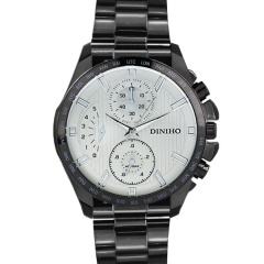 Diniho 8015G Black Case Silver Dial Black Steel Strap Quartz Watch