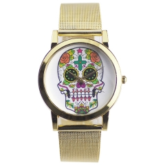 Stylish Skull Dial Gold Strap Quartz Watch