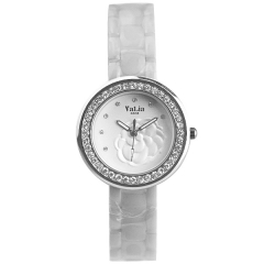 Valia 6808 Ladies' Diamonds Bezel Camellia Face Ceramics Strap Advanced Quartz Watch