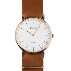 Jinnaier White Dial PU Strap Two-pin Quartz Watch
