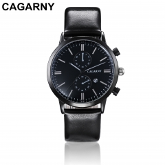 CAGARNY 6821 Original Men's Sports Leather Strap Quartz Date Wrist Watch