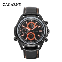 CAGARNY 6825 Original Men's Sports Leather Strap Quartz Date Wrist Watch
